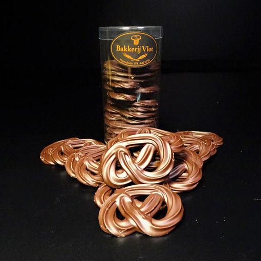 Afbeelding van Chocolade Krakelingen Melk Handgespoten Kokertje